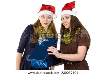Image of two women with the gift on white background
