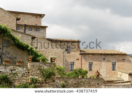 Image of typical houses in Italy, Umbria - stock photo