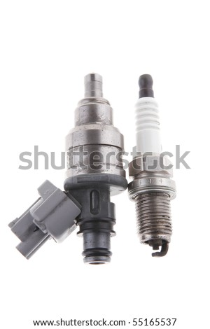 image of used car injector on white - stock photo