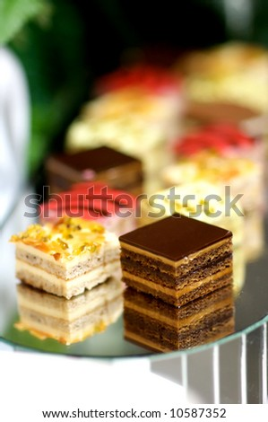 Image of various desserts on a tray - stock photo