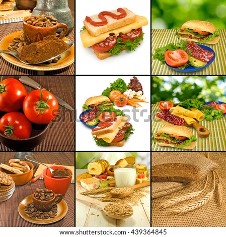 Image of various food products closeup