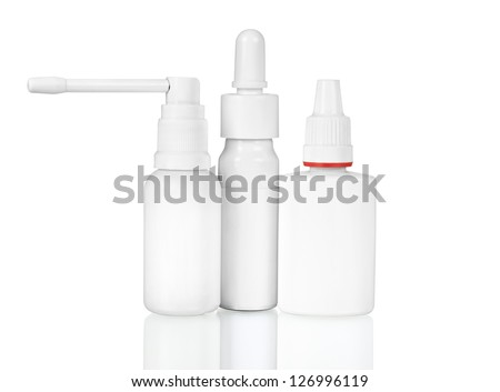 image of various medicinal packings bottles isolated - stock photo