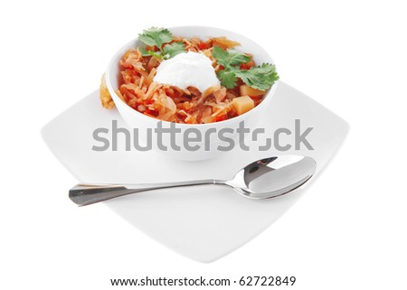 image of vegetable soup and gold bread toasts - stock photo