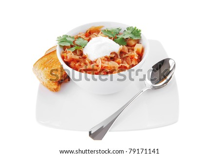 image of vegetable soup with cabbage and tomatoes - stock photo