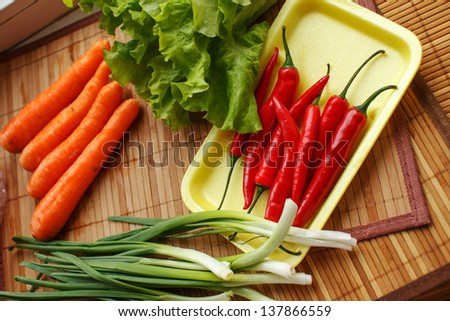 Image of vegetarian food on the table