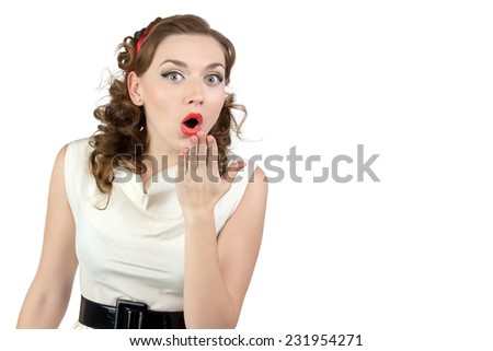 Image of very surprised woman with hand on white background