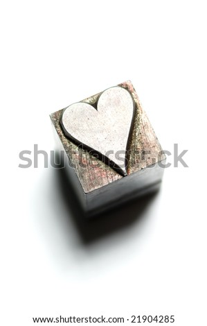 Image of vintage Letterpress Heart characters - stock photo