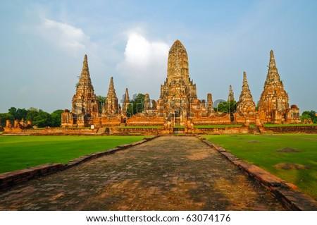 Image of Wat Chai Watthanaram Temple, Ancient Pagoda in Ayutthaya Thailand - stock photo