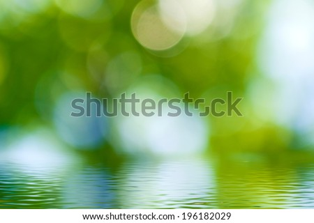 image of water surface on blurred green background  - stock photo