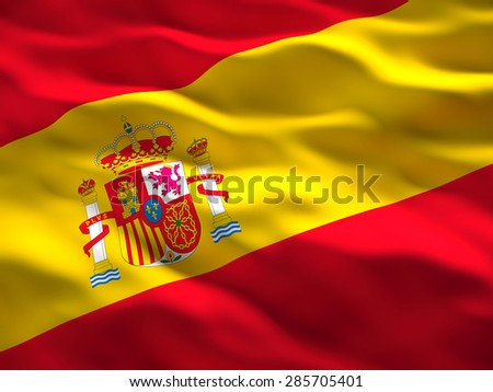 image of waved spain flag - stock photo