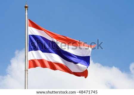 Image of waving Thai flag of Thailand with blue sky background.