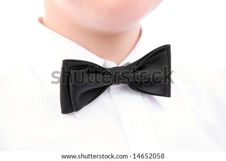 Image of wedding accessory - black bowtie on the neck - stock photo