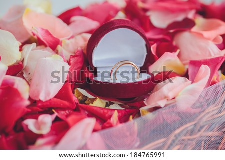 image of wedding rings in a gift box on flowers background - stock photo