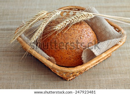 Image of wheat cereal bread with spikelets - stock photo