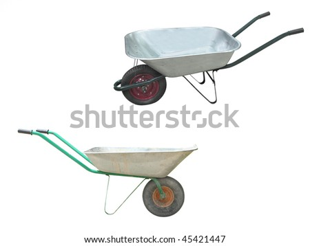 Image of wheelbarrows under the white background - stock photo