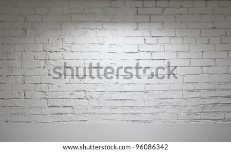Image of white brick wall background - stock photo