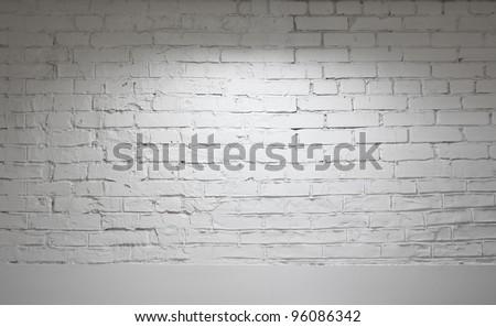 Image of white brick wall background - stock photo