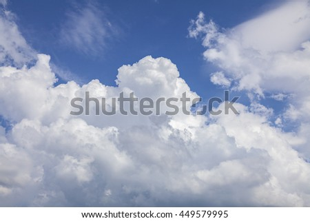 Image of white fluffy clouds. - stock photo
