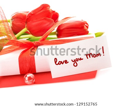 Image of white gift box with red ribbon, fresh tulips flower bouquet, paper card, greeting postcard, isolated on white background, happy mothers day, love you mom, still life, sensuality concept - stock photo