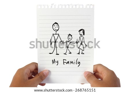 Image of white note paper, held by child hands with My Family word written on it - stock photo