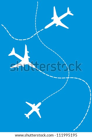 image of white silhouettes of jet airplanes - stock photo