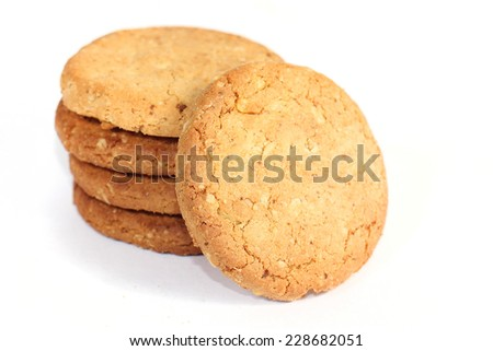 Image of whole wheat biscuits on white background