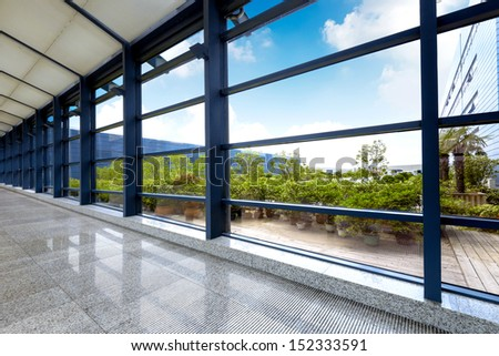 image of windows in modern office building - stock photo