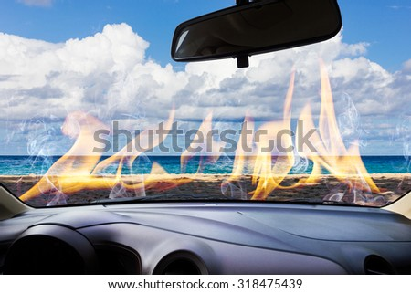Image of windshield on the road ,way and highway, Car be on fire.