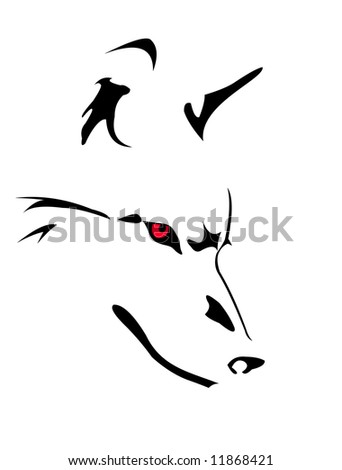 image of wolf's head isolated on white - stock photo