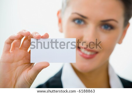 Image of  woman holding her visiting card