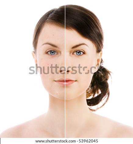 image of woman's face on white background - stock photo