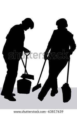 image of woman, sweeping leaves. Silhouette of work people