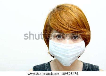 Image of woman wearing protective mask. - stock photo