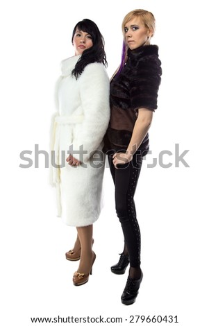 Image of women in fake fur coats on white background - stock photo