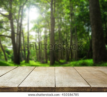 image of wooden table in front of forest tree background