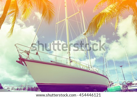 image of yacht in the pier with color filters