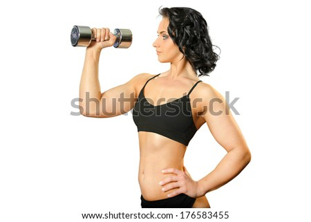 Image of young attractive female  with dumbbells doing exercise on white background. Fitness woman working out.