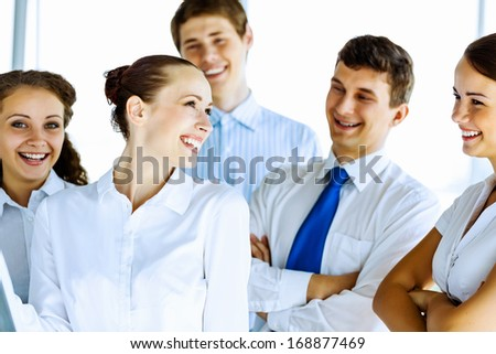 Image of young business people at work. Team concept - stock photo