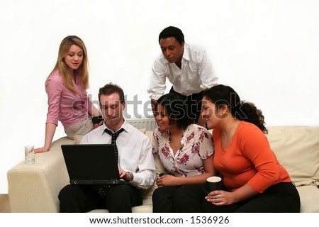 image of young business people in a relaxed meeting - sharing information