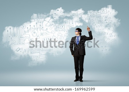 Image of young businessman wearing goggles. Idea concept