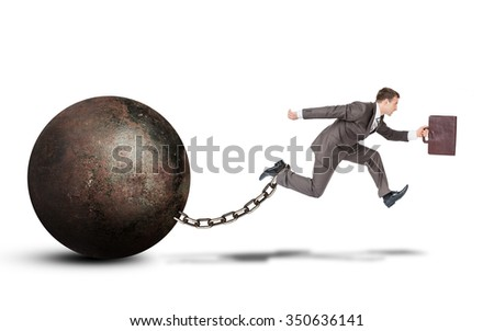 Image of young businessman with suitcase and iron ballast jumping over gap on isolated white background - stock photo