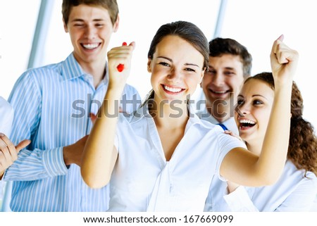 Image of young businesspeople celebrating. Success concept - stock photo