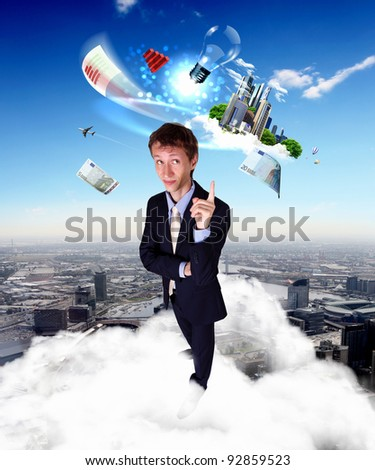 Image of young creative and innovative bussiness man - stock photo