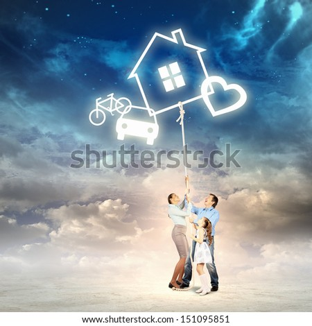 Image of young family pulling rope with different symbols. Collage - stock photo