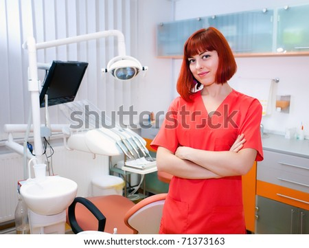 Image of young lady dentist inside the dental clicic