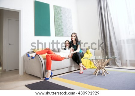 Image of young lesbian couple wear elegant brunette woman posing at camera and sit on sofa against white wall with two pictures  - stock photo