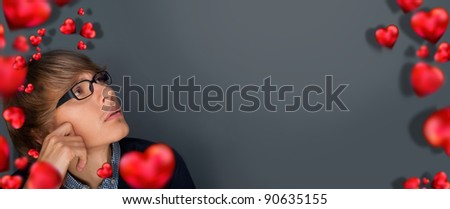 Image of young man thinking of his plans about Valentine day and his couple. Lots of copyspace - stock photo
