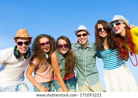 Image of young people having fun. Summer vacation - stock photo