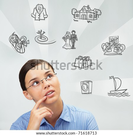 Image of young woman thinking of her plans - stock photo