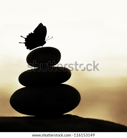 Image of zen balance still life, abstract peaceful background, silhouette of stacked round stone and beautiful butterfly on the top, feng shui, harmony meditation, day spa concept - stock photo